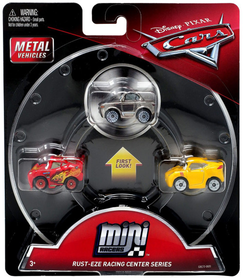 Disney / Pixar Cars Die Cast Mini Racers Metallic Sterling, Lightning McQueen & Cruz Ramirez Car 3-Pack