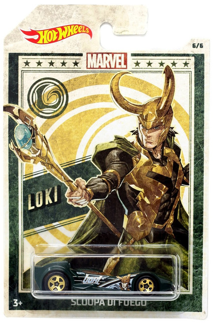 Hot Wheels Marvel Loki Diecast Car #5/6 [Scoopa Di Fuego]