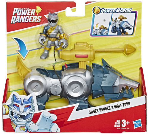 Power Rangers Playskool Heroes Silver Ranger & Wolf Zord 3-Inch Figure Set