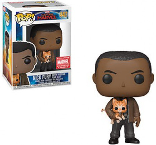 Funko Captain Marvel POP! Marvel Nick Fury with Goose the Cat Exclusive Vinyl Bobble Head #447