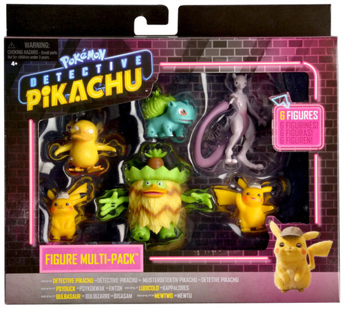 Pokemon Detective Pikachu, Psyduck, Ludicolo, Bulbasaur & Mewtwo Mini Figure 6-Pack