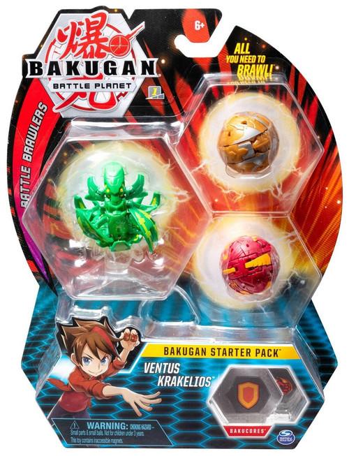 Bakugan Battle Planet Battle Brawlers Starter Pack Ventus Krakelios 3-Figure Set