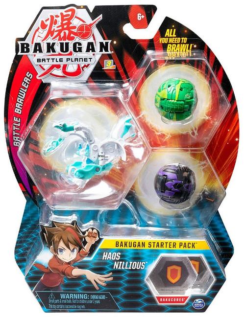 Bakugan Battle Planet Battle Brawlers Starter Pack Haos Nillious 3-Figure Set