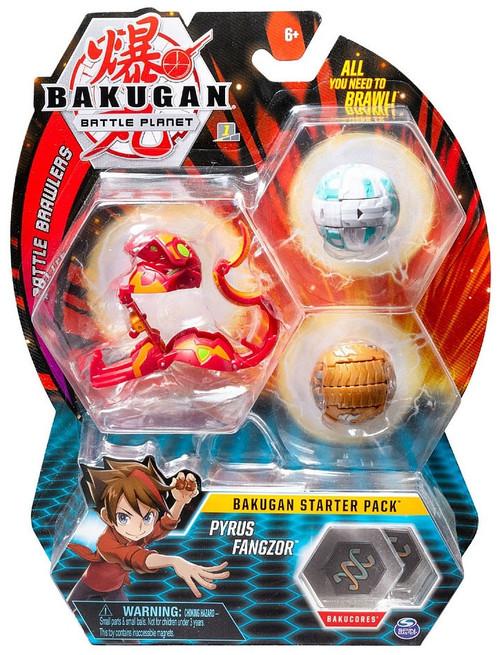 Bakugan Battle Planet Battle Brawlers Pyrus Fangzor Starter Pack