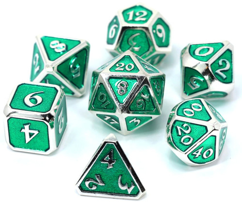 Mythica Platinum Emerald Metal Polyhedral 7-Die Dice Set