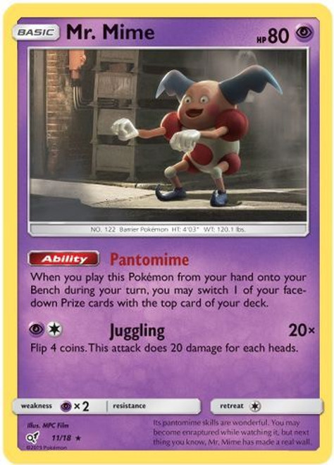 Pokemon Trading Card Game Detective Pikachu Rare Holo Mr. Mime #11