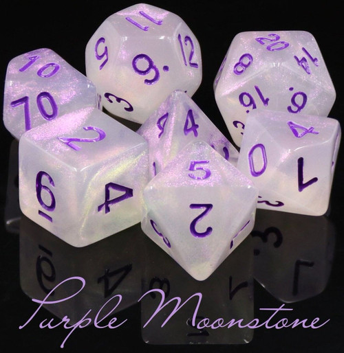RPG Purple Moonstone Polyhedral 7-Die Dice Set (Pre-Order ships January)