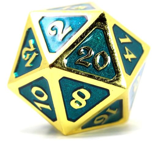 Mythica Dire Gold Aquamarine D20 Metal Polyhedral Die