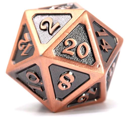 Mythica Dire Battleworn Copper D20 Metal Polyhedral Die