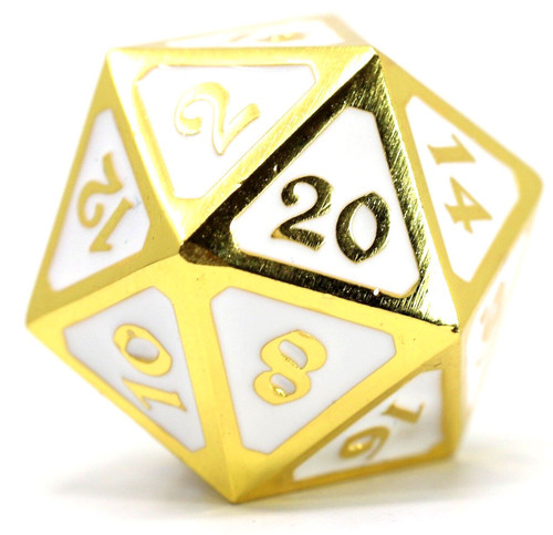 Mythica Dire Shiny Gold White D20 Metal Polyhedral Die