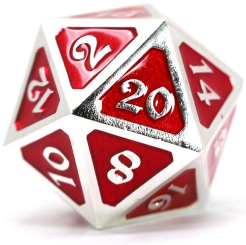 Mythica Dire Platinum Ruby D20 Metal Polyhedral Die