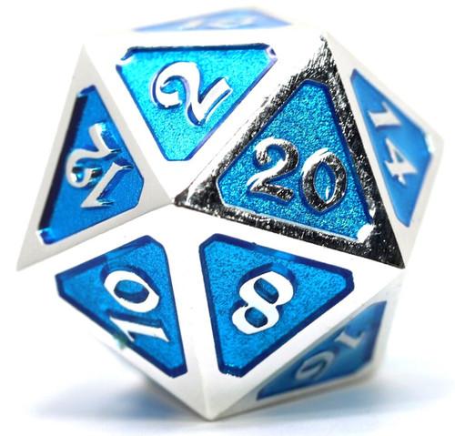 Mythica Dire Platinum Aquamarine D20 Metal Polyhedral Die