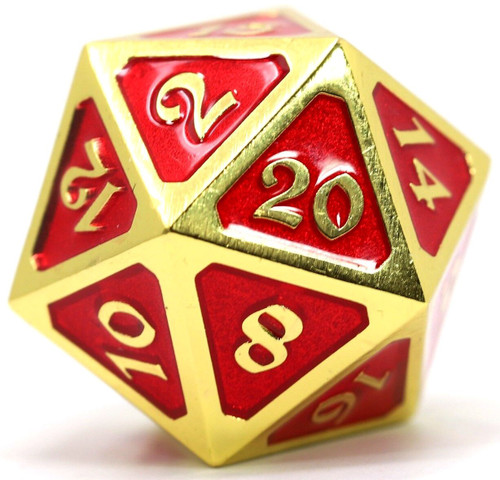 Mythica Dire Gold Ruby D20 Metal Polyhedral Die