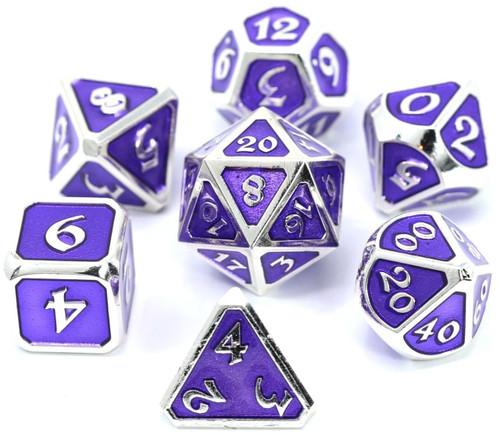 Mythica Platinum Amethyst Metal Polyhedral 7-Die Dice Set
