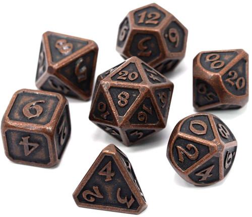 Mythica Dark Copper Metal Polyhedral 7-Die Dice Set
