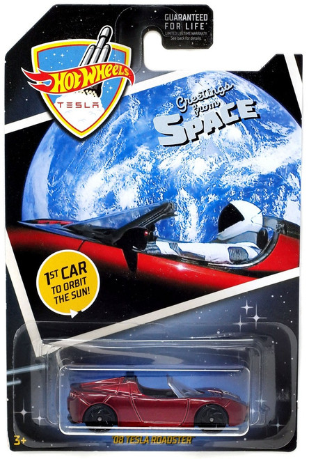 Hot Wheels Greetings From Space '08 Tesla Roadster Diecast Car [1st Car to Orbit the Sun!]