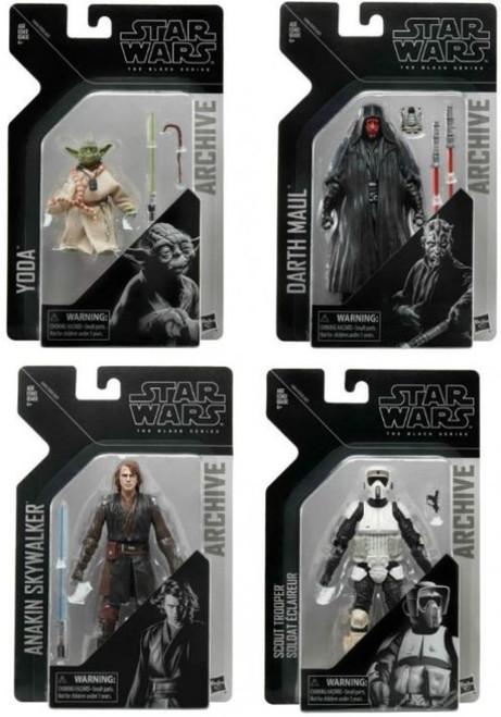 Star Wars Black Series Archive Wave 2 Scout Trooper, Darth Maul, Anakin Skywalker & Yoda Set of 4 Action Figures