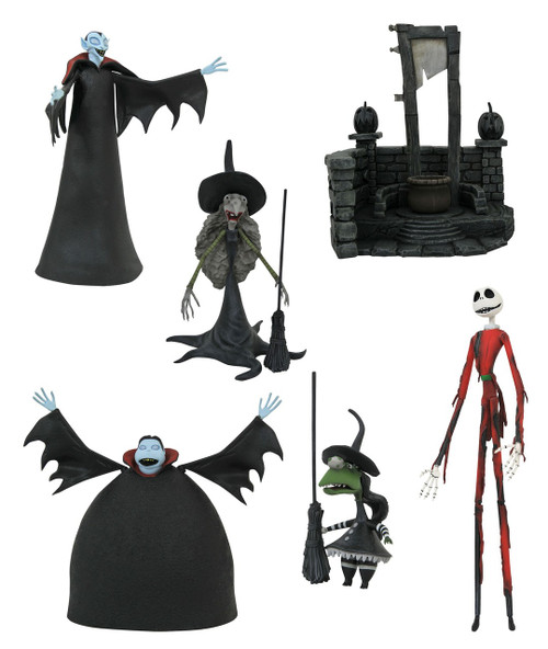 Nightmare Before Christmas Select Series 8 Burnt Santa Jack, Small Vampire with Tall Witch & Short Vampire with Short Witch Set of 3 Action Figures
