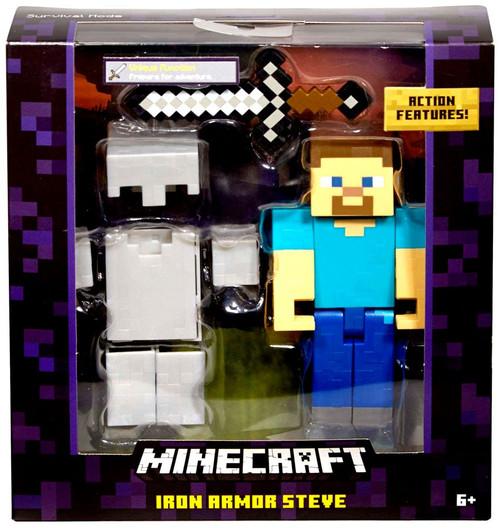 Minecraft Survival Mode Iron Armor Steve Action Figure [Damaged Package]