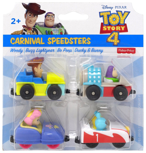 Fisher Price Toy Story 4 Carnival Speeders Vehicle 4-Pack Set