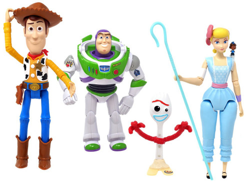 Toy Story 4 Woody, Buzz Lightyear, Forky & Bo Peep Action Figure 4-Pack [Damaged Package]