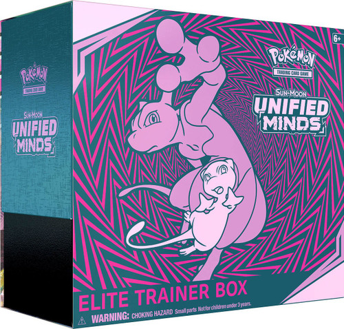Pokemon Trading Card Game Sun & Moon Unified Minds Mew / Mewtwo Elite Trainer Box [8 Booster Packs, 65 Card Sleeves, 45 Energy Cards & More]