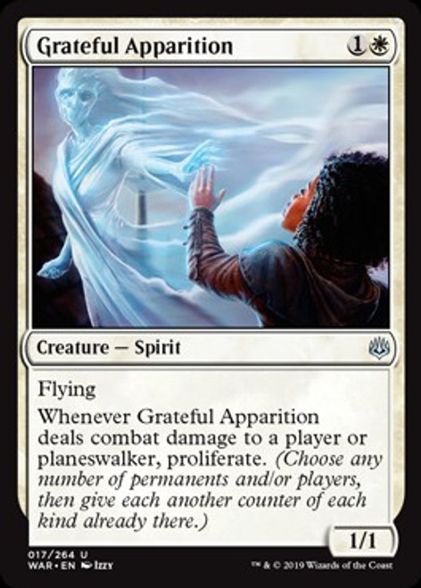MtG War of the Spark Uncommon Grateful Apparition #17