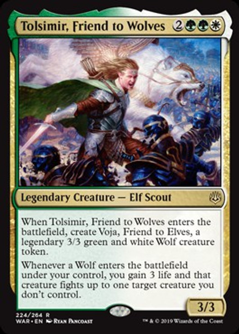 MtG War of the Spark Rare Tolsimir, Friend to Wolves #224