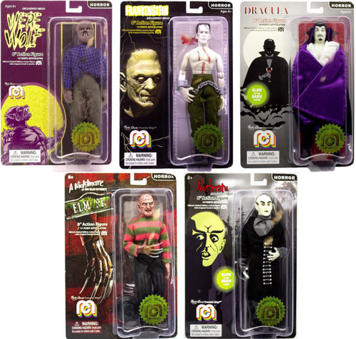 Horror Frankenstein, Dracula, Werewolf, Freddy & Nosferatu Set of 5 Action Figures