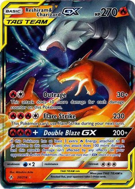 Pokemon Sun & Moon Unbroken Bonds Ultra Rare Reshiram & Charizard GX #20
