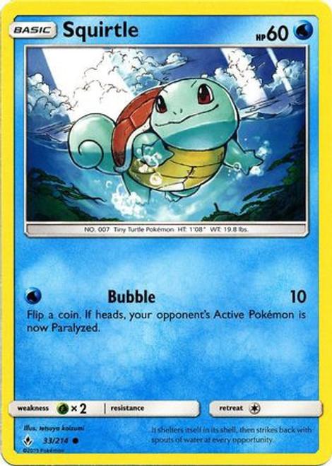 Pokemon Sun & Moon Unbroken Bonds Common Squirtle #33