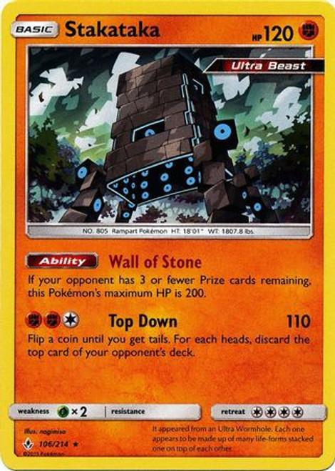 Pokemon Sun & Moon Unbroken Bonds Rare Holo Stakataka #106