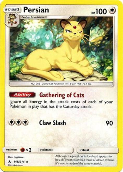 Pokemon Sun & Moon Unbroken Bonds Rare Persian #148