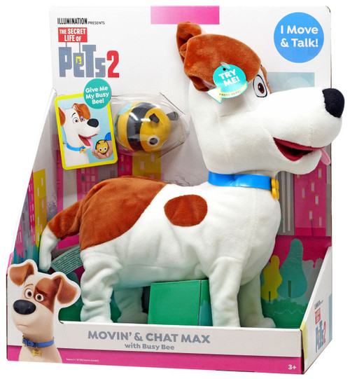 The Secret Life of Pets 2 Movin' & Chat Max 6-Inch Plush Figure with Sound [with Busy Bee]