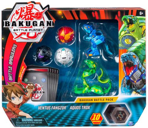 Bakugan Battle Planet Battle Brawlers Ventus Fangzor & Aquos Trox Battle Pack