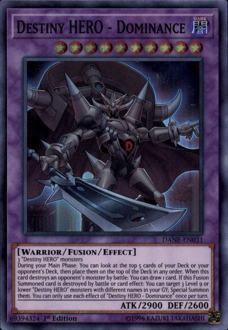 YuGiOh Dark Neostorm Super Rare Destiny HERO - Dominance DANE-EN031