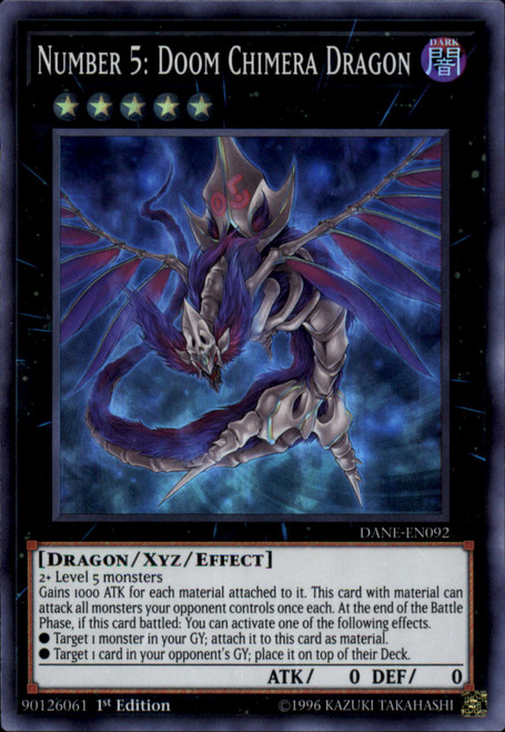 YuGiOh Dark Neostorm Super Rare Number 5: Doom Chimera Dragon DANE-EN092