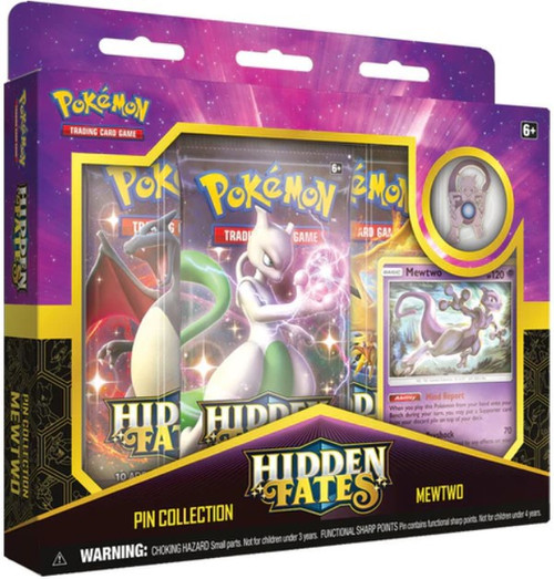 Pokemon Trading Card Game Sun & Moon Hidden Fates Mewtwo Pin Collection [3 Booster Packs, Promo Card & Pin]