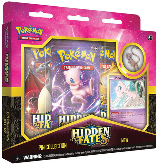 Pokemon Trading Card Game Sun & Moon Hidden Fates Mew Pin Collection [3 Booster Packs, Promo Card & Pin]