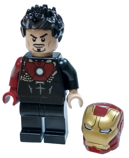 LEGO Marvel Super Heroes Avengers Tony Stark Minifigure [Black Iron Man Suit Loose]