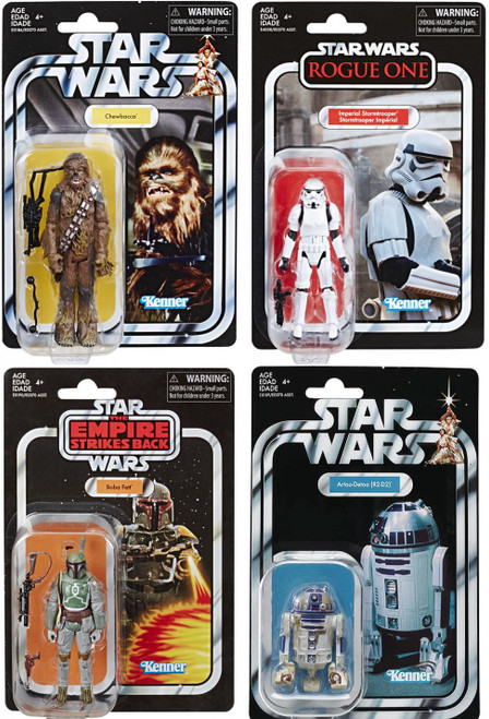 Star Wars Vintage Collection Chewbacca, Stormtrooper, R2-D2 & Boba Fett Set of 4 Action Figures