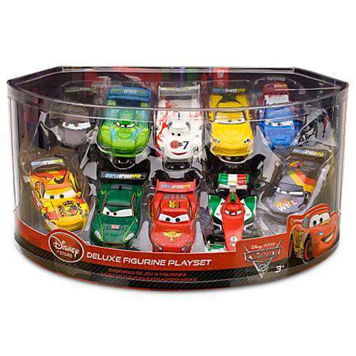 Disney / Pixar Cars 1:43 Multi-Packs Cars 2 Exclusive 10-Piece Deluxe PVC Figure Playset [Lightning McQueen & More, Damaged Package]