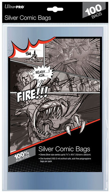 "Ultra Pro Comic Supplies Silver Size 7-1/4"" X 10-1/2"" Comic Bags"