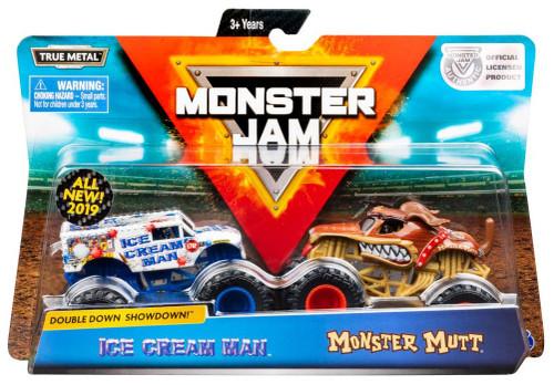 Monster Jam Double Down Showdown! Ice Cream Man & Monster Mutt Diecast Car 2-Pack