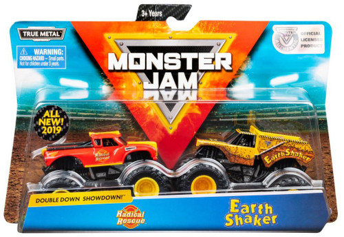 Monster Jam Double Down Showdown! Radical Rescue & Earth Shaker Diecast Car 2-Pack