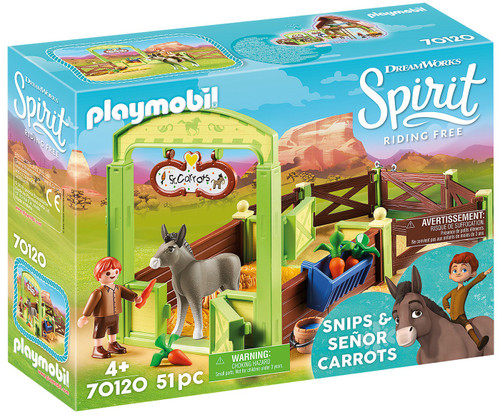 Playmobil Spirit Riding Free Snips & Senor Carrots with Horse Stall Set #70120
