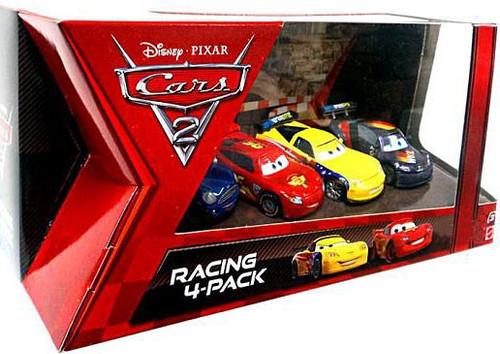 Disney / Pixar Cars Cars 2 Racing 4-Pack McQueen, Gorvette, Schnell & Del Cooper Exclusive Diecast Car Set [Damaged Package]