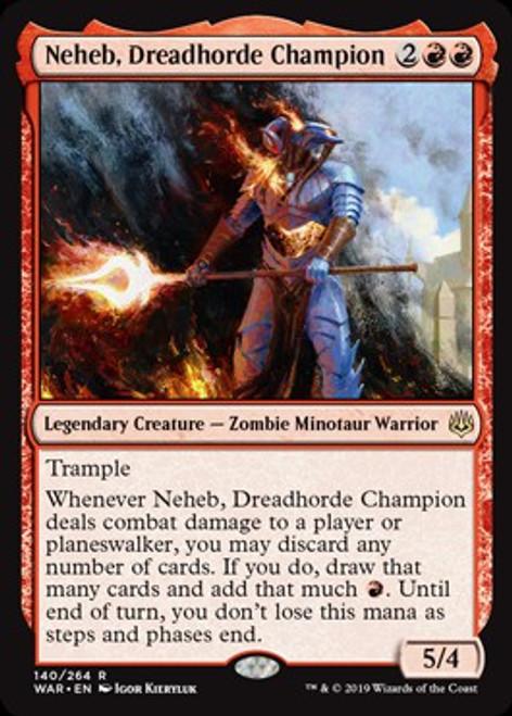 MtG War of the Spark Rare Foil Neheb, Dreadhorde Champion #140