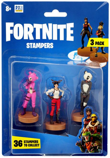 Fortnite Series 1 Cuddle Team Leader, Red Nosed Raider & P.A.N.D.A. Team Leader Stamper 3-Pack