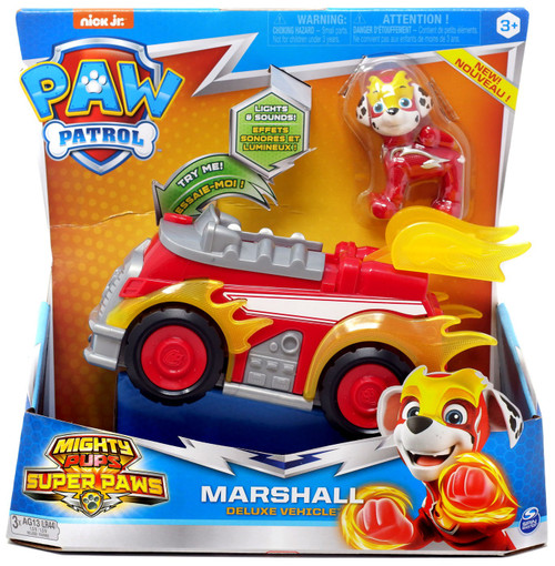 Paw Patrol Mighty Pups Super Paws Marshall Vehicle & Figure